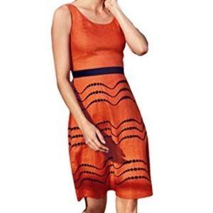 BODEN Linen Embroidered Orange Summer Fun Dress